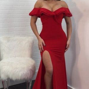 Red Side Split, Red Ruffle Shoulders & Backless